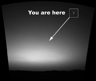 Earth as seen from Mars.