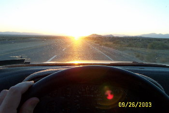 driving into the equinoctal sunset...