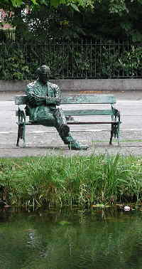 bench and statue